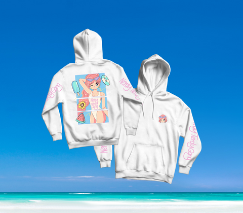 SUMMER IN OKINAWA - DAY AT THE BEACH HOODIE WEISS