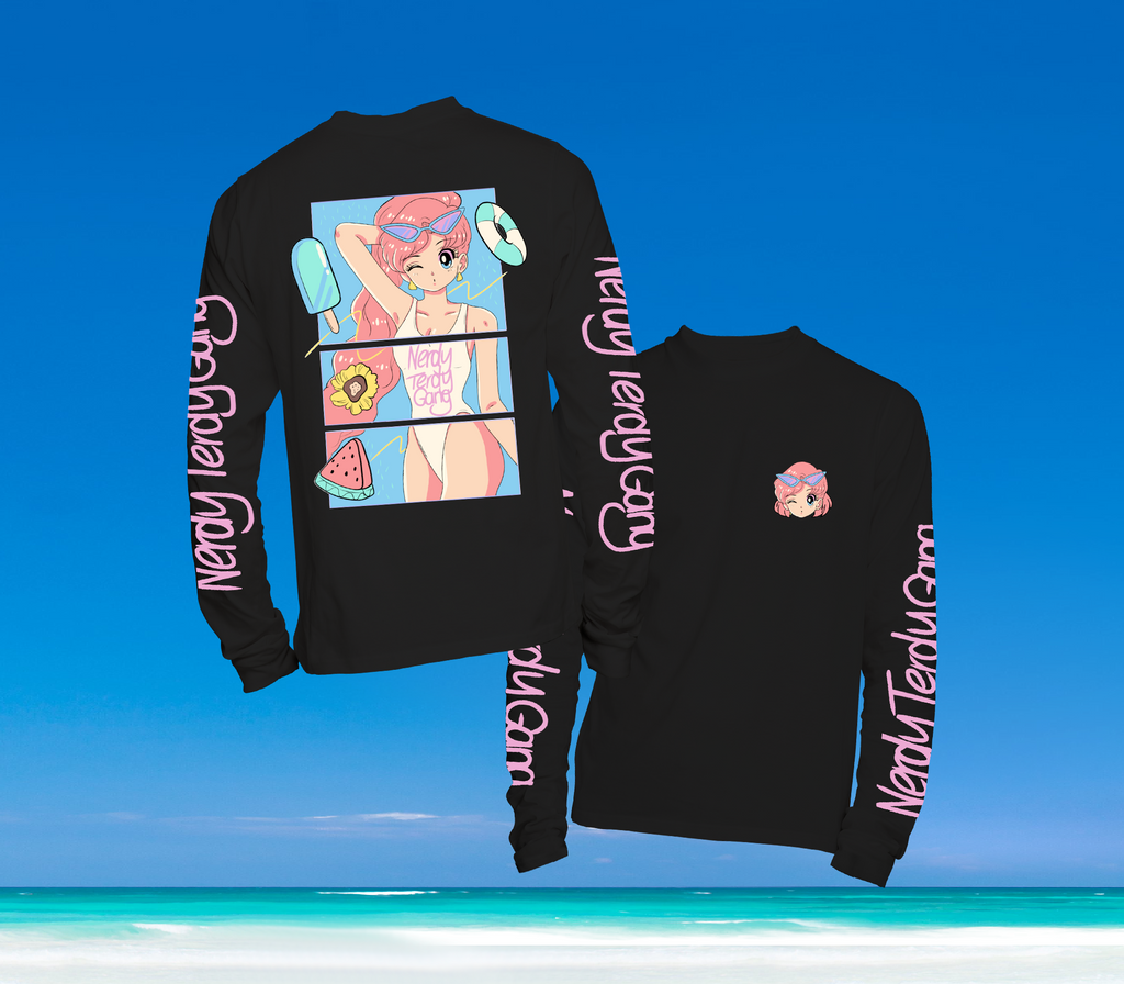 SUMMER IN OKINAWA - DAY AT THE BEACH LONGSLEEVE SCHWARZ