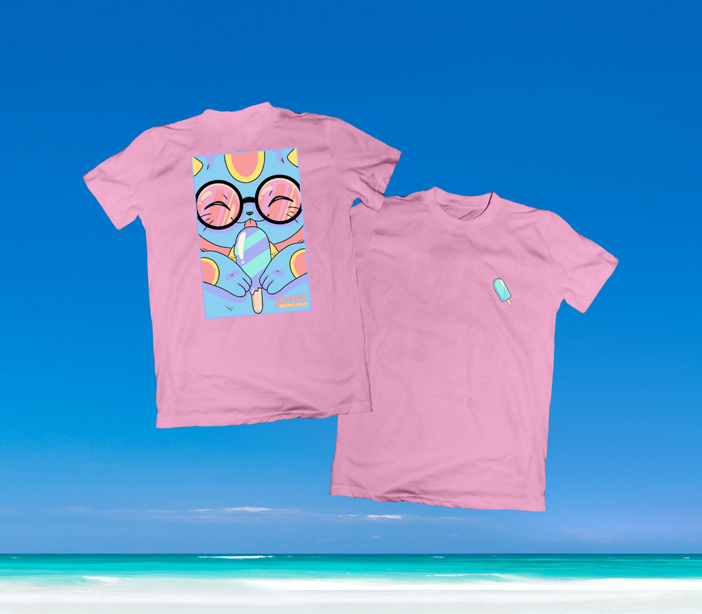SUMMER IN OKINAWA - ICEY CAT SHIRT PINK