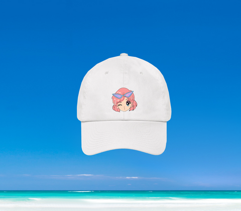 SUMMER IN OKINAWA - KAWAII GIRL DAD HAT WEISS (PRE-ORDER)