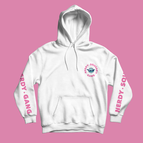 NERDY SQUERDY GANG - HOODIE WEISS/PINK