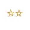 18K Gold Pentagram Stud Earrings