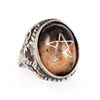 Burning Cinder Texas Agate Angel Heart Ring