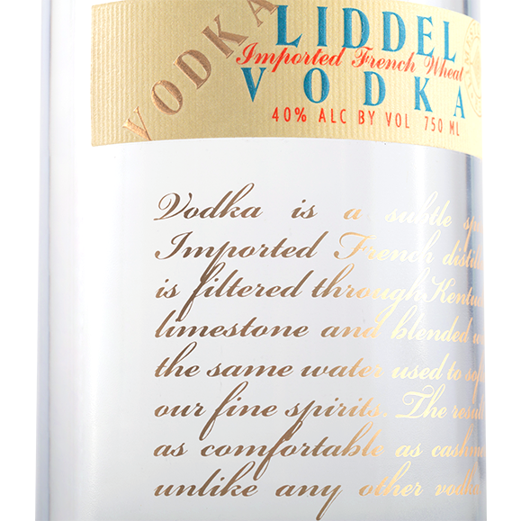 Story of Liddel Vodka on bottle