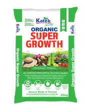 Load image into Gallery viewer, Katek Organic Super Growth contains: Biologically Active Composted Poultry Manure, Blood & Bone, Zeolite, Rock Phosphate, Natural Gypsum, Sulphate of Potash, Worm Castings, Rock Minerals, Fish Meal and Seaweed Extract.