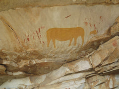 San/Bushman cave painting in Western Cape_South Africa
