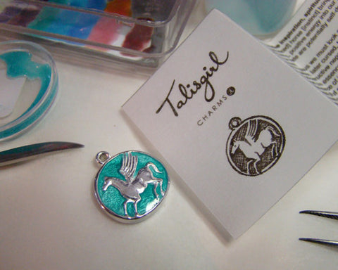 Talisgirl-Charms_Enamelling-Pegasus-Finis! Pegasus ready to fly and inspire