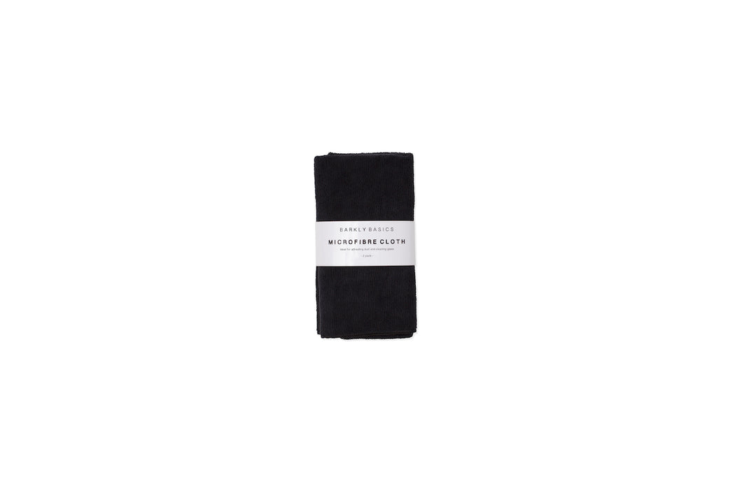 BARKLY BASICS Black Microfibre Cleaning Cloth 2 Pack