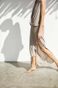 JAZZY Woven drape long dress grey