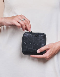 Sonny Square Wallet Black Croco Classic