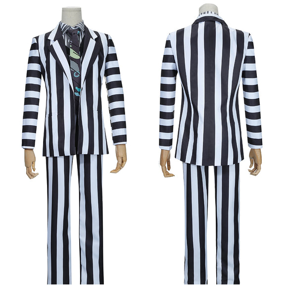 Adam Costume Black White Stripes Suit Movie Beetlejuice Cosplay for Halloween Carnival Convention