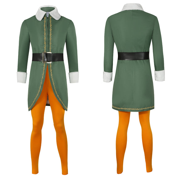 Buddy Elves Costume Green Coat Movie Elf Cosplay for Man and Women Christmas Halloween Carnival Convention