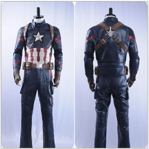 Captain America Steve Rogers Costume Movie Avengers 4: Endgame Cosplay for Halloween Carnival Convention