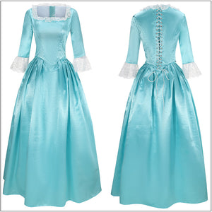 Elizabeth Schuyler Costume Eliza Bright Blue Dress Musical Hamilton Cosplay for Halloween Carnival Convention