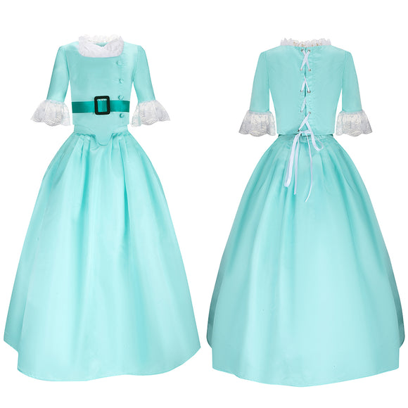 Elizabeth Schuyler Costume Child Version Blue Green Dress Musical Hamilton Cosplay for Halloween Carnival Convention