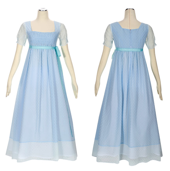 Elizabeth Schuyler Costume Sky Blue Dress Musical Hamilton Cosplay for Halloween Carnival Convention