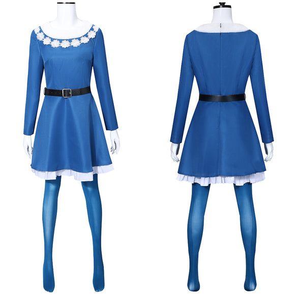 Elves Girls Costume Blue Dress Movie Elf Cosplay for Christmas Halloween Carnival Convention