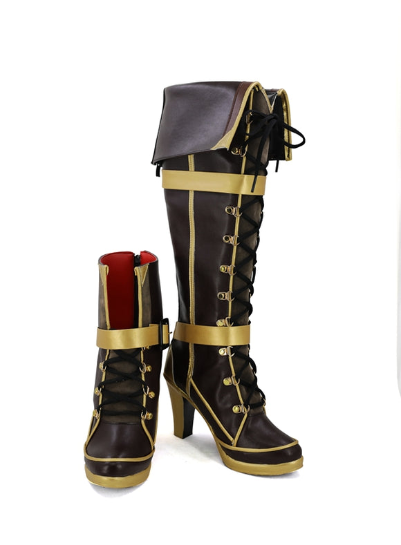 Jean Bart Shoes Boots Game Azur Lane Cosplay for Halloween Carnival Convention