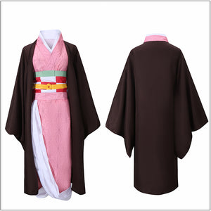Kamado Nezuko Kimono Costume Anime Demon Slayer: Kimetsu no Yaiba Cosplay for Halloween Carnival Convention