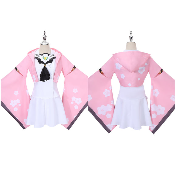 Kamiyama Shiki Costume Pink Kimono Game Summer Pockets REFLECTION BLUE Cosplay for Halloween Carnival Convention
