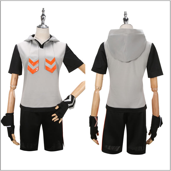 King Costume Orange Outfit With Hat Anime Aotu World Cosplay for Halloween Carnival Convention