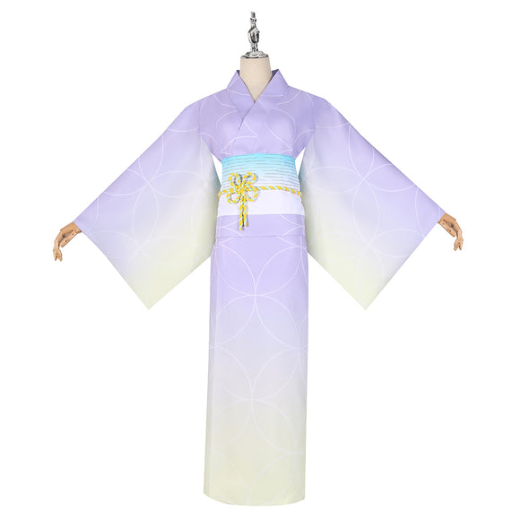 Kochou Shinobu Costume Summer Purple Kimono Anime Demon Slayer: Kimetsu no Yaiba Cosplay for Halloween Carnival Convention