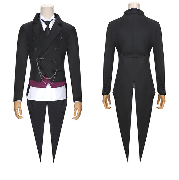 Kuroshitsuji Sebastian Costume Black Coat Anime Black Butler 2 Cosplay for Halloween Carnival Convention