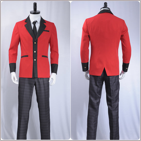 Manyuuda Kaede Suzui Ryota Costume Red Uniform Anime Kakegurui: Compulsive Gambler Cosplay for Halloween Carnival Convention