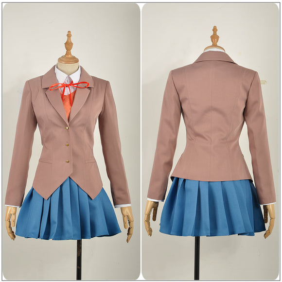 Monika Costume School Uniform Anime Doki Doki Literature Club! Cosplay for Halloween Carnival Convention