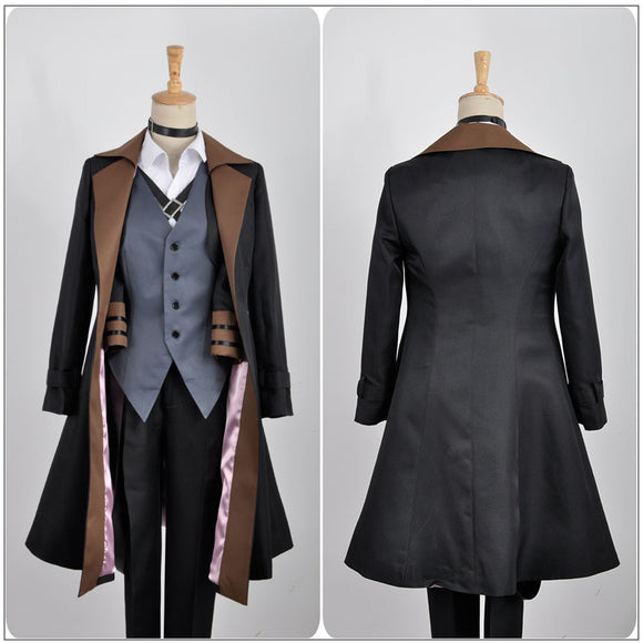 Nakahara Chuya Costume Black Trench Anime Bungo Stray Dogs Cosplay for Halloween Carnival Convention