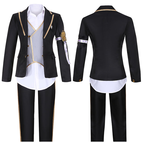 Octauinelle Floyd Leech Costume Black Uniform Game Twisted-Wonderland Cosplay for Halloween Carnival Convention