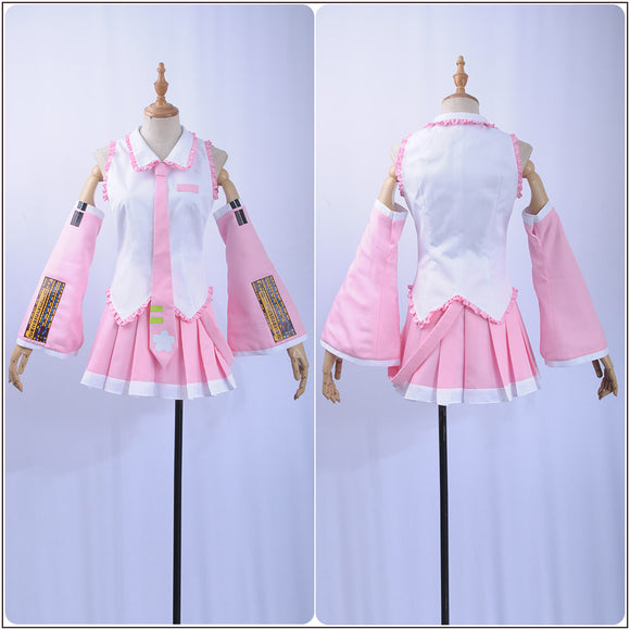 Sakura Hatsune Miku Costume Pink Dress Vocaloid Cosplay for Halloween Carnival Convention