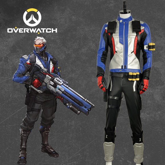 Soldier 76 Costume Leather Outfit Game Overwatch Cosplay for Halloween Carnival Convention