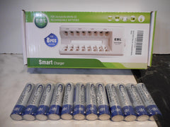 8 Port Smart Charger + 12 3000mAh 1.2 V Ni-MH rechargeable battery combo