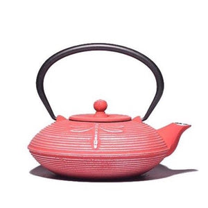 Sunset Red Dragonfly Iron Cast Tea Pot
