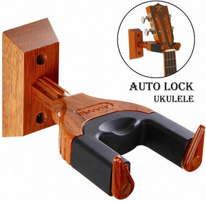 Ukulele Wall Mount, Auto Lock Hanger, Hard Wood Base Hook For Ukulele /  Violin / Banjo / Mandolin Wall Holder Stand
