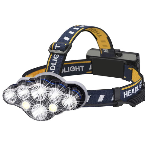 Rechargeable Headlamp USB Waterproof 8 Modes LED Flashlight Head Lights for Camping Fishing Hiking Outdoors