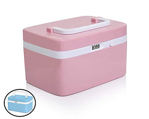 Medicine Lock Box Safe Medication Storage Childproof Prescription Bottle Organizer Lockable Combination Chest Cabinet Separate Compartments Lockbox