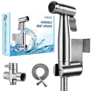 Stainless Steel Handheld Bidet Sprayer for Toilet Bathroom Bidet Sprayer Set with Anti-Leaking Hose 2 Water Pressure