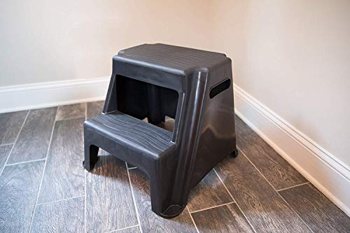 2-Step Molded Plastic Stool with Non-Slip Step Treads 300-Pound Capacity