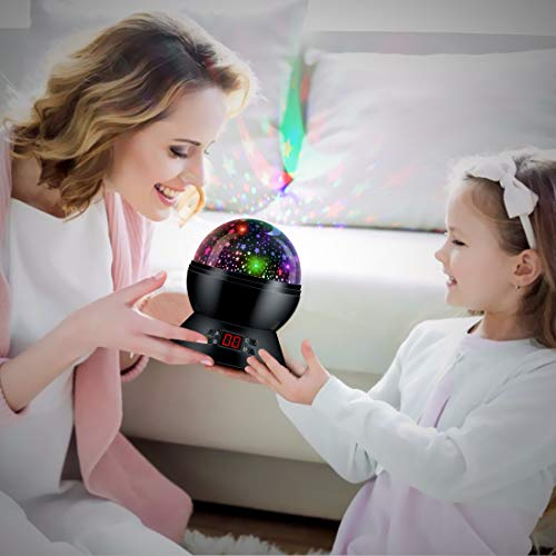 Star Projector Night Lights for Kids with Timer Room Lights for Kids Glow in The Dark Stars Moon can Make Child Sleep Peacefully and Best Gift-Black