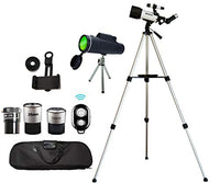 Astronomical Telescopes Monocular Travel Scope 70mm Aperture 400mm AZ Mount Refractor Portable Bag Smartphone Adapter Camera Remote for Kids Beginners