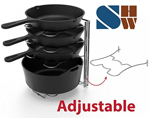 FanBell Kitchen Cabinet 5 Adjustable Compartments Pan and Pot Lid Organizer Rack Holder, Chrome