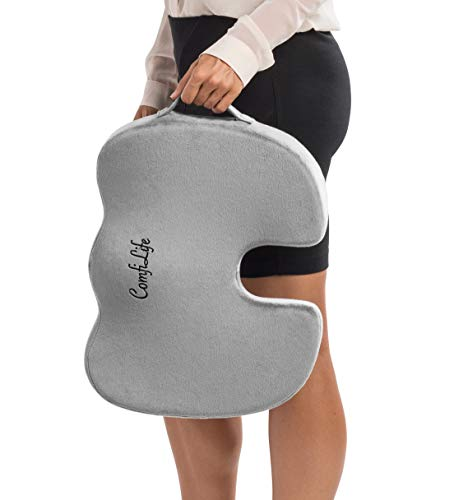 Gel Enhanced Seat Cushion Non-Slip Orthopedic Gel Memory Foam Coccyx Cushion for Tailbone Pain Office Chair Car Seat Cushion Sciatica Back Pain Relief