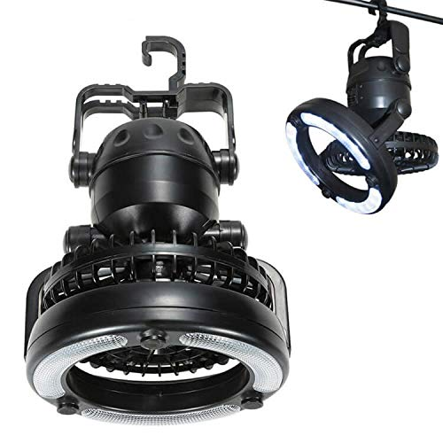 Camping Lantern with Ceiling Fan 2 in 1 Portable 18 LED Tent Light Fan Flashlight Ceiling Fan for Outdoor Hiking Fishing Outages Emergencies Tent