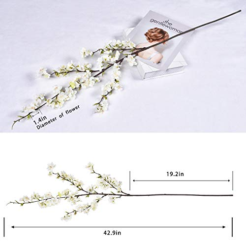 "Shiny Flower 4PCS Artificial Cherry Blossom Flowers, Silk Peach Flowers Arrangements Tall Artificial Plant 42.9"" in Tall for Wedding Office Party Hotel Yard Home Decoration"