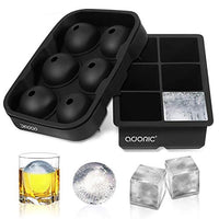 Ice Cube Trays Silicone Set of 2, Sphere Ice Ball Maker with Lid and Large Square Molds for Whiskey, Reusable BPA Free