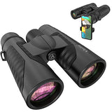 12x42 Binoculars for Adults with New Smartphone Photograph Adapter 18mm Large View Eyepiece 16.5mm Super Bright BAK4 Prism FMC Lens Binoculars