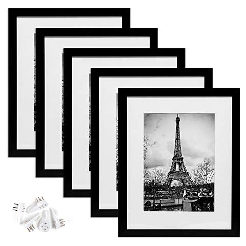 11x14 Picture Frame Set of 5,Display Pictures 8x10 with Mat or 11x14 Without Mat,Wall Gallary Photo Frames,Black