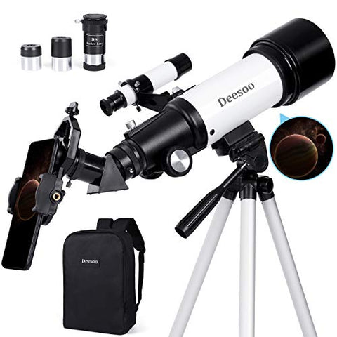 Adults Kids Telescopes Portable Travel Scope FMC Lens Adjustable Tripod Backpack Phone Holder for Moon Viewing 70mm Aperture 400mm Refractor Telescope